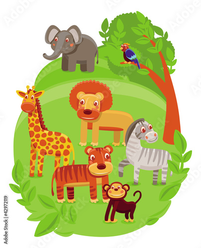 Foto op Aluminium Zoo funny cartoon animals in green jungle