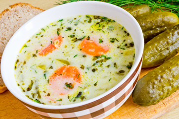 NaklejkaTraditional polish cucumber soup