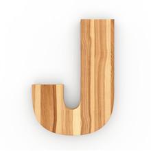 3d Font Wood Ash Letter J