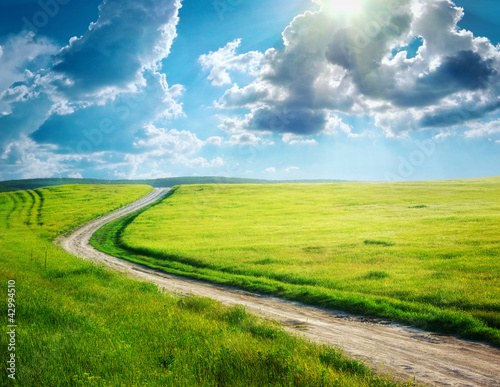 Foto op Plexiglas Blauw Road lane and deep blue sky