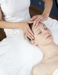 Fototapeta na wymiar indulging facial massage at the spa