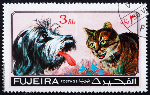 Poster Croquis dessinés à la main des animaux Postage stamp Fujeira 1971 Dog and Cat, Pets