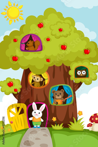 La pose en embrasure Forets enfants Animals in a treehouse