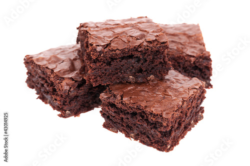 Fotografie, Obraz  Stack of brownies isolated on white