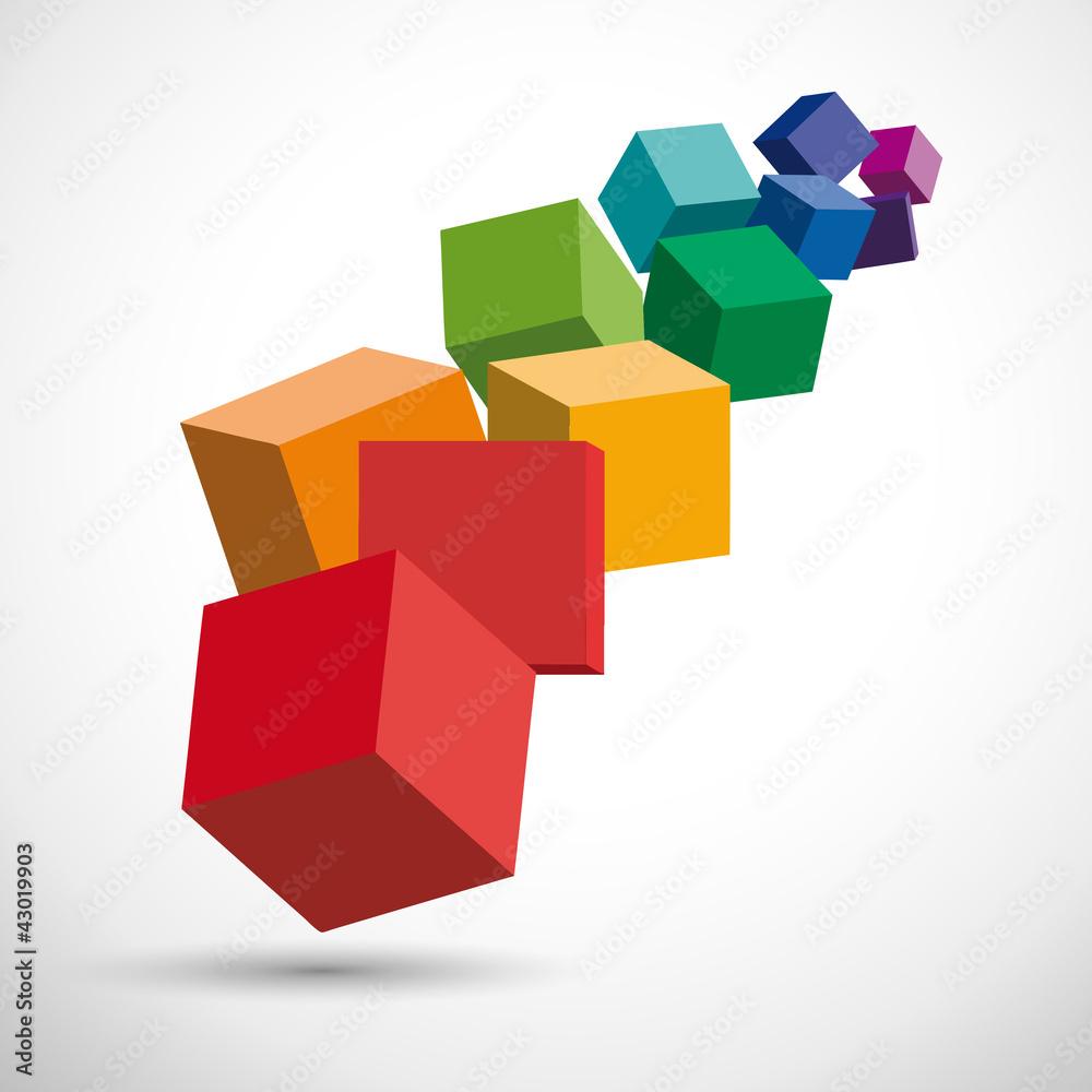Fototapeta Vector illustration of 3d cubes