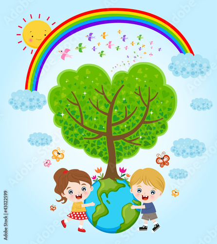 Deurstickers Regenboog children hugging the earth