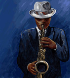 saksofonista gra na saksofonie na niebieskim tle - 43044780