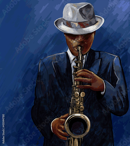 Spoed Foto op Canvas Muziekband saxophonist playing saxophone on a blue background