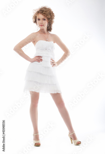 Beauty Young Bride In Elegant White Short Wedding Dress Buy This