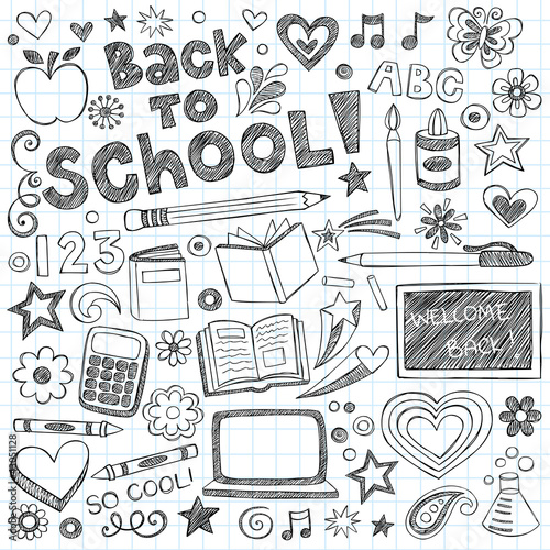 Back to School Supplies Sketchy Notebook Doodles Vector Set Poster