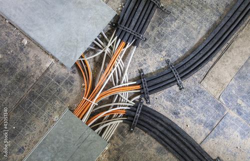 Fotografie, Obraz  Rechenzentrum Verkabelung Kabel