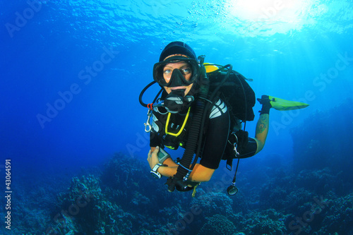 Canvas Prints Diving Woman Scuba Diver