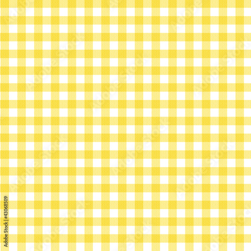 Yellow Gingham Fabric Background