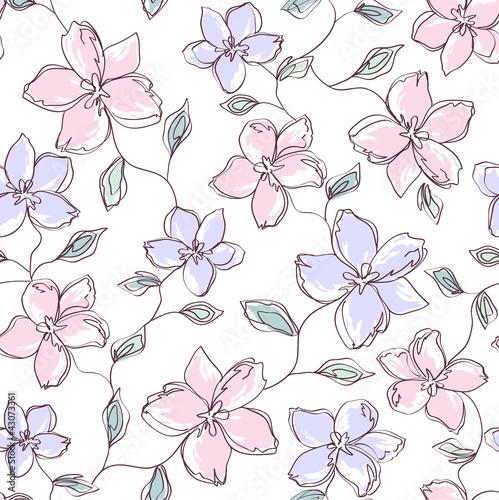 Keuken foto achterwand Abstract bloemen seamless floral background