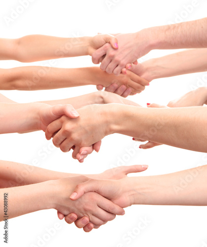 Fototapety, obrazy: group of young people's hands isolated on white
