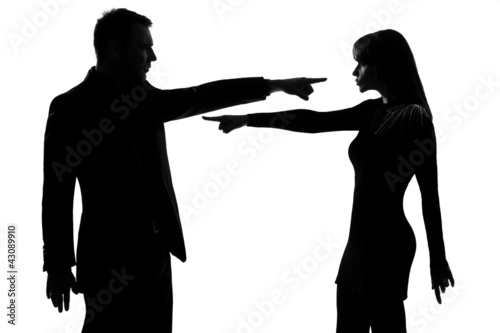 one couple man and woman Criticism concept Fototapeta