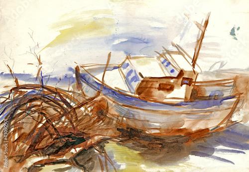 lodz-rysunek-odreczny-zarys-morza