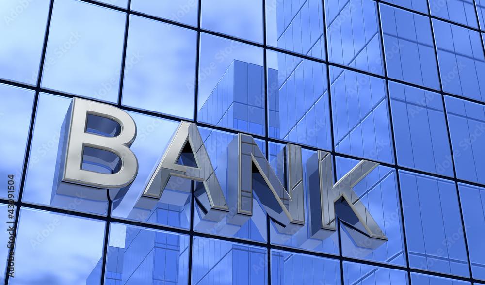 Fototapeta Bank Konzept Silber Blau 3