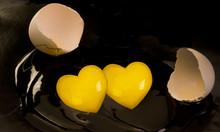 Double Heart Shape Egg Yolk.