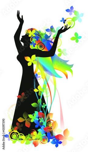 Poster Bloemen vrouw Woman with flowers for design