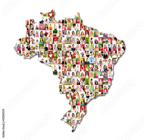 map of brasil with a lot of people portraits – kaufen Sie ...