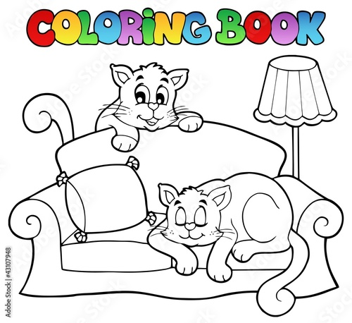 Spoed Foto op Canvas Doe het zelf Coloring book sofa with two cats