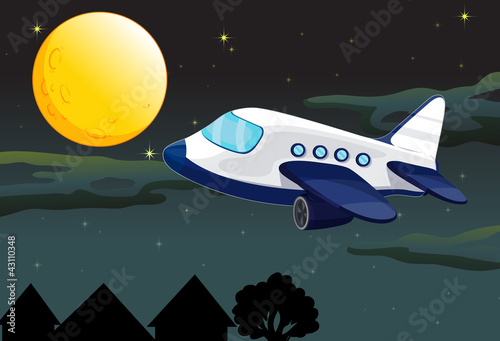 Foto op Canvas Kosmos a moon and airplane