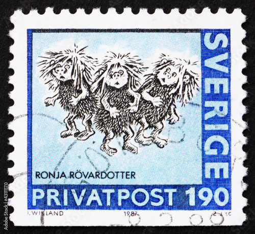 Photo  Postage stamp Sweden 1987 Ronja Rovardotter