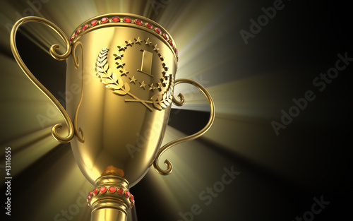 Fototapeta Golden glowing trophy cup on black background
