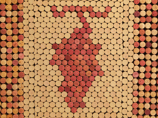 Fototapeta Wino Used Wine Corks Grape Cluster Pattern for Background