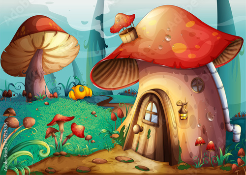 Poster Magic world mushroom house
