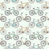 Bezszwowy wzór z ślicznymi retro rowerami - 43132166