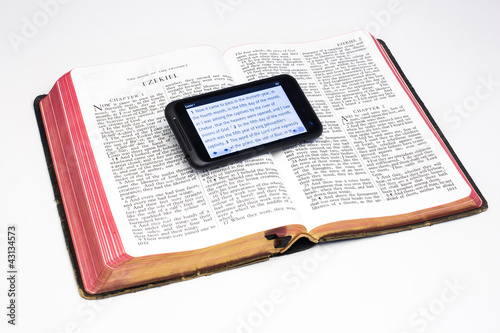 Photo Worn Bible and Smartphone - Ezekiel