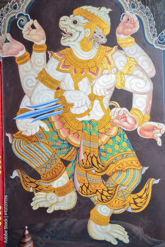 Türaufkleber Phantasie Art painting of Hanuman (Public domain)