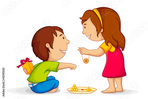 Valokuva  Illustration of brother and sister celebrating Raksha Bandhan