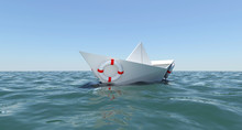 White Paper Boat Floating In The Sea Water