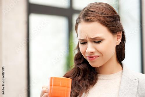 Fototapeta lovely businesswoman with mug obraz