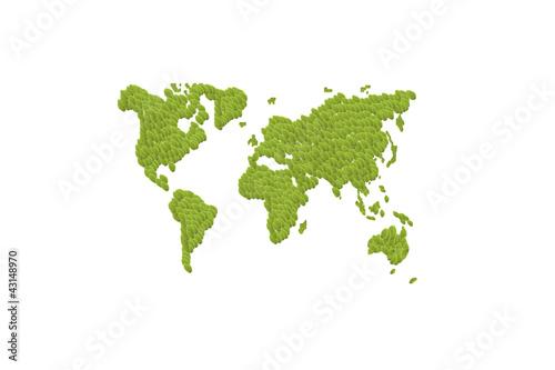Green leafs world map with Earth globes – kaufen Sie diese ...