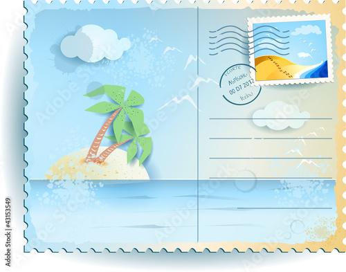 Fotografia  Tropical sea, vintage postcard