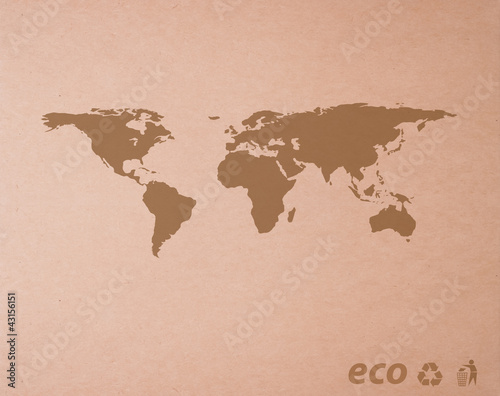Foto op Aluminium brown recycled paper with Icon ecological map world
