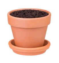 Flower Pot With The Soil On Wh...