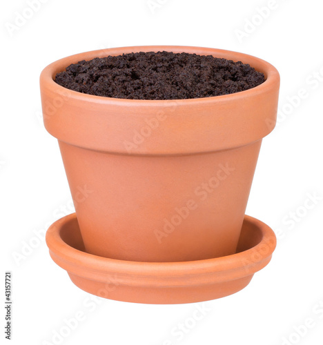 Fotografie, Obraz  Flower pot with the soil on white background