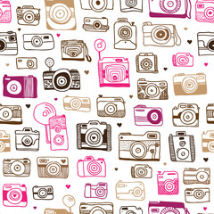 Tapeta Seamless photo camera doodle pattern in vector