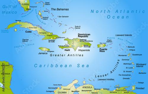 Fotografie, Obraz  Landkarte der Bahamas + Antillen als Übersicht
