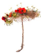 Decorative Umbrella Of Burlap, Mats And Artificial Flowers Poppy