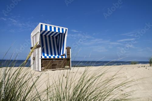 Poster Noordzee Nordsee Strandkorb