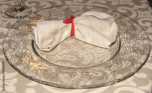 Foto op Plexiglas Stenen in het Zand piatto e tovagliolo