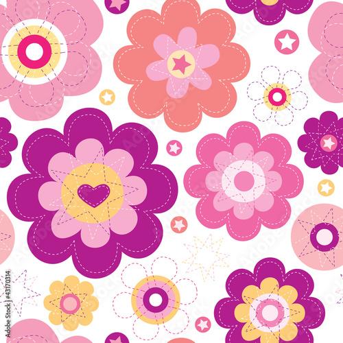 bezszwowej-kwiat-menchii-tla-retro-wzor-w-wektorze