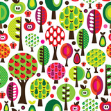 Seamless retro flower apple pattern background in vector