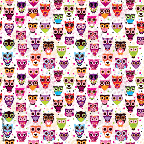 Deurstickers Uilen cartoon Seamless colourfull owl pattern for kids in vector